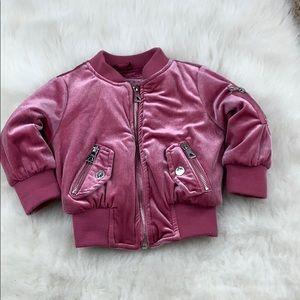 Kids 24 months pink velvet puffy bomber jacket